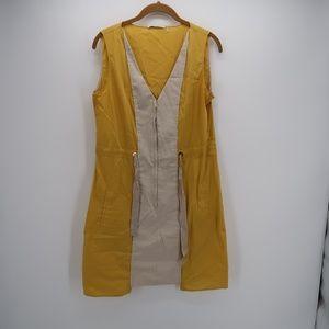 T Tahari Tan Yellow V-Neck Sleeveless Midi Dress